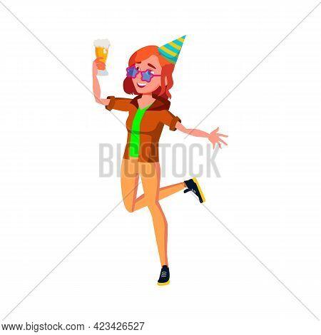 Happy Girl Enjoying On Birthday Party And Drinking Beer Alcoholic Drink Cartoon Vector. Happy Girl E