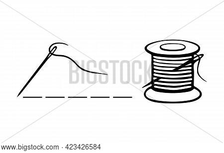Needle With Thread And Spool Of Threads Logo. Vector Sewing Icons Isolated On White Background For T