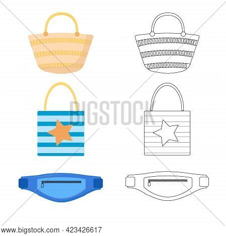 Set Of Different Summer Bags, Shopping Tote Bag, Straw Bag, Bum Bag. Summer Bags Vector Illustration