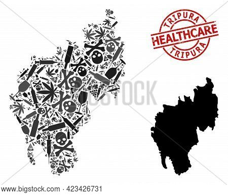 Vector Narcotic Composition Map Of Tripura State. Grunge Health Care Round Red Rubber Imitation. Tem