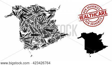 Vector Narcotic Collage Map Of New Brunswick Province. Rubber Health Care Round Red Stamp. Concept F