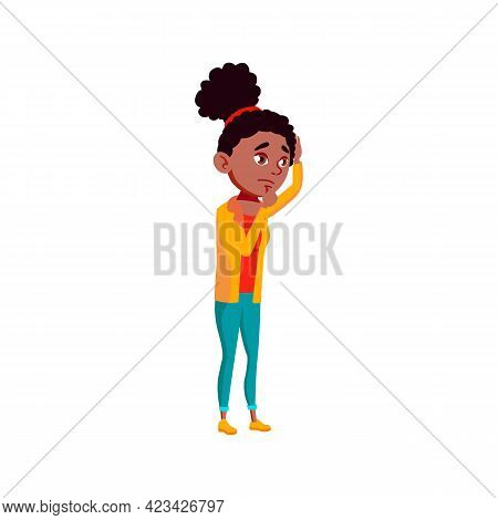 African Girl With Virus Infection On Doctor Consultation Cartoon Vector. African Girl With Virus Inf
