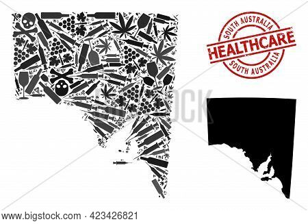 Vector Addiction Composition Map Of South Australia. Rubber Health Care Round Red Rubber Imitation.