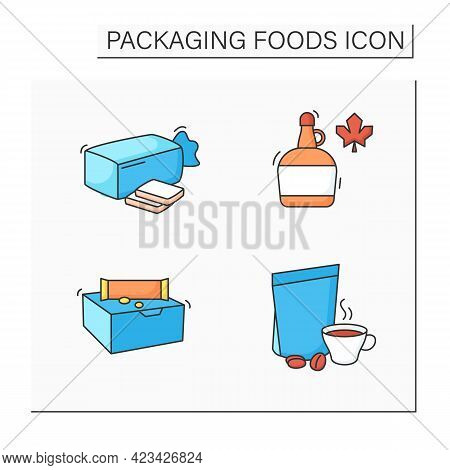 Packing Foods Color Icons Set. Sandwich Bread, Coffee, Maple Syrup, Snack Bars. Protection, Tamperin