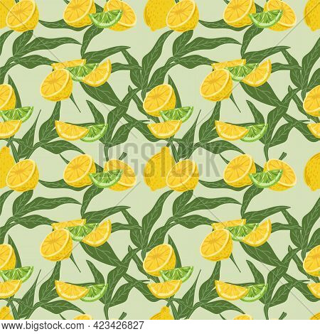 Vector Pattern Of Citrus Fruits On A Green Background. Juicy Lemon With Lime For The Summer Design O