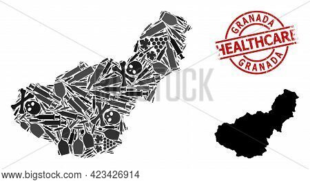 Vector Narcotic Composition Map Of Granada Province. Rubber Health Care Round Red Badge. Concept For