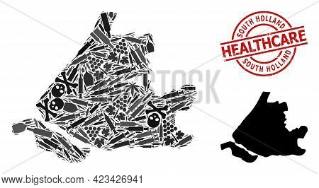 Vector Addiction Collage Map Of South Holland. Rubber Health Care Round Red Seal. Template For Narco
