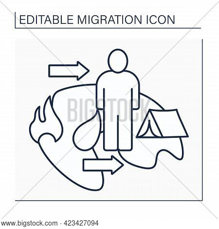 Refugee Line Icon. Forced Country Leaving To Escape War, Persecution, Or Natural Disaster. Homelessn