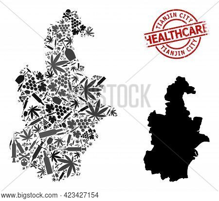 Vector Addiction Collage Map Of Tianjin Municipality. Rubber Health Care Round Red Stamp. Concept Fo