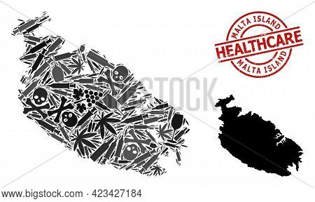Vector Narcotic Mosaic Map Of Malta Island. Grunge Health Care Round Red Seal. Template For Narcotic