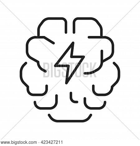 Abstract Monochrome Brainstorming Icon Vector Illustration Brain And Thunder Creativity Intelligence