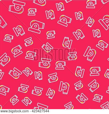 Line Cannon Icon Isolated Seamless Pattern On Red Background. Vector