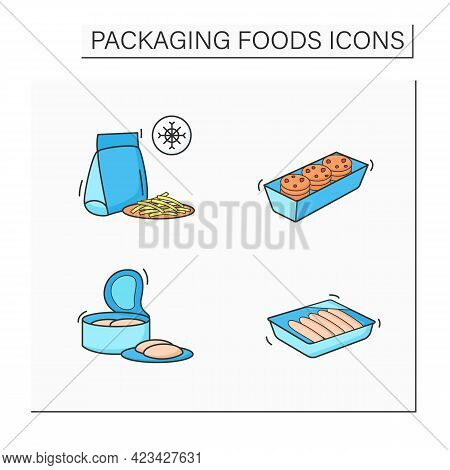 Packing Foods Color Icons Set. Cookies, Sausages, Canned Tuna, Frozen French Fries. Protection, Tamp