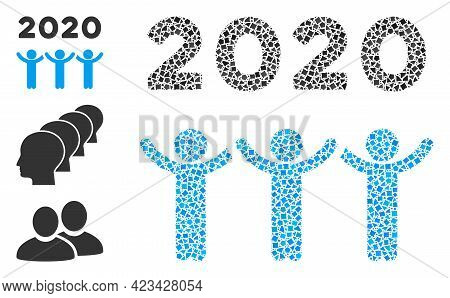 Collage 2020 Dancing People Icon Composed Of Tremulant Elements In Different Sizes, Positions And Pr