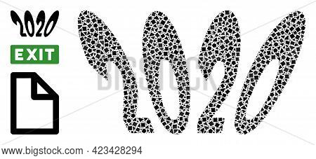 Collage 2020 Perspective Text Icon Designed From Irregular Spots In Variable Sizes, Positions And Pr