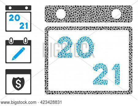 Collage 2021 Calendar Icon Constructed From Trembly Elements In Random Sizes, Positions And Proporti