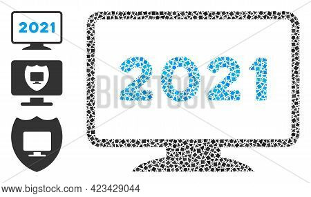 Mosaic 2021 Display Icon United From Uneven Items In Variable Sizes, Positions And Proportions. Vect
