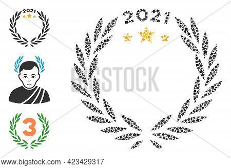 Mosaic 2021 Laurel Wreath Icon Composed Of Tuberous Parts In Variable Sizes, Positions And Proportio