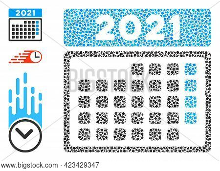 Mosaic 2021 Month Calendar Icon Organized From Tuberous Items In Random Sizes, Positions And Proport