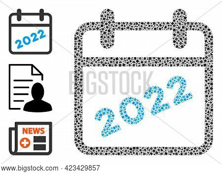 Mosaic 2022 Calendar Page Icon United From Uneven Spots In Different Sizes, Positions And Proportion