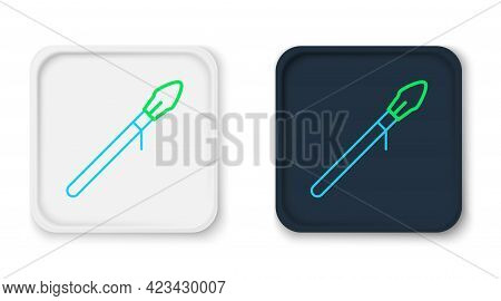 Line Medieval Spear Icon Isolated On White Background. Medieval Weapon. Colorful Outline Concept. Ve