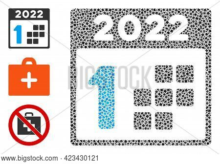 Mosaic 2022 First Day Icon Organized From Raggy Spots In Various Sizes, Positions And Proportions. V