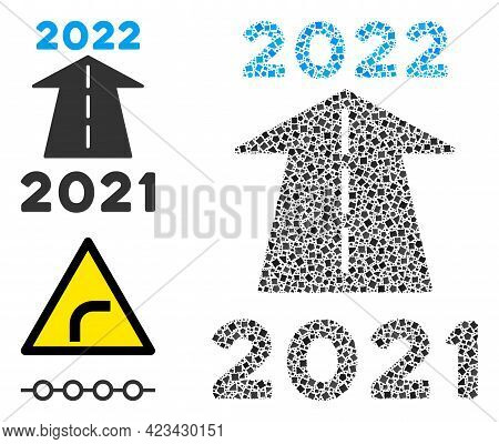 Mosaic 2022 Future Road Icon Constructed From Raggy Elements In Different Sizes, Positions And Propo