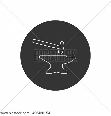 Anvil With Hammer Line Icon. Vector Illustration