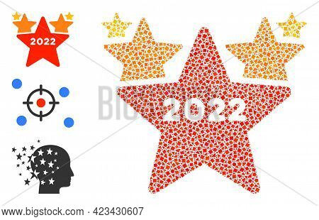 Mosaic 2022 Star Hit Parade Icon United From Ragged Parts In Different Sizes, Positions And Proporti