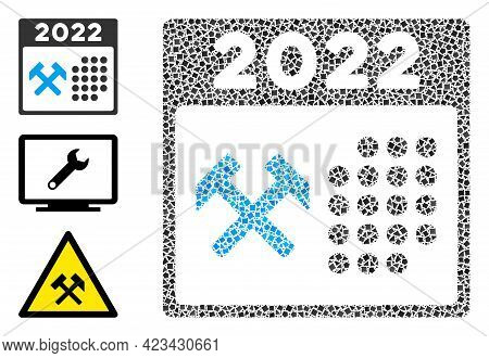 Mosaic 2022 Working Days Icon Organized From Inequal Spots In Different Sizes, Positions And Proport