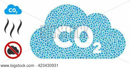 Collage Co2 Gas Cloud Icon Composed Of Irregular Items In Random Sizes, Positions And Proportions. V