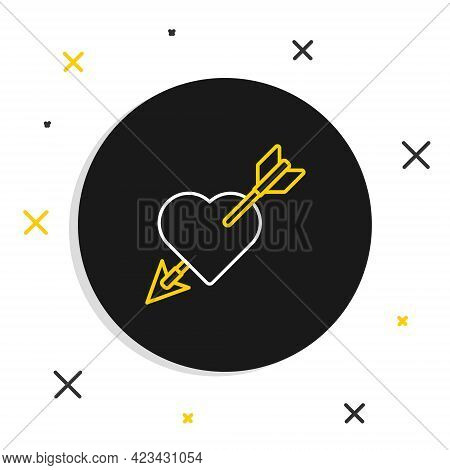 Line Amour Symbol With Heart And Arrow Icon Isolated On White Background. Love Sign. Valentines Symb