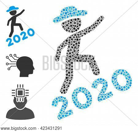 Mosaic Gentleman Climbing 2020 Icon United From Rough Items In Various Sizes, Positions And Proporti
