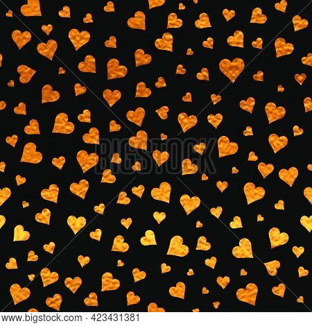 Black And Gold  Pattern. Abstract Sparkle Modern Background With Golden Hearts. Vector Illustration.