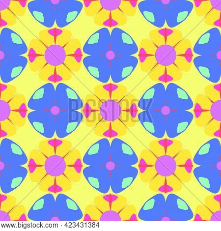 Seamless Pattern With  Print Of Multicolor Colorful Flowers. Vivid Pink, Blue  And Yellow Artistic V