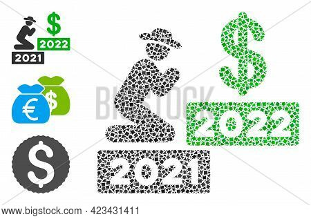 Mosaic Gentleman Pray Dollar 2022 Icon Designed From Rough Spots In Various Sizes, Positions And Pro