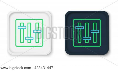 Line Sound Mixer Controller Icon Isolated On White Background. Dj Equipment Slider Buttons. Mixing C