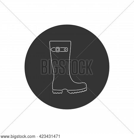 Boots Line Icon Rain Boot, Shoes Sign. Vector