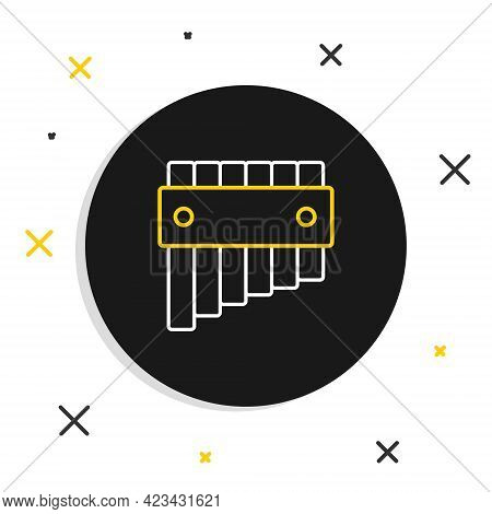 Line Pan Flute Icon Isolated On White Background. Traditional Peruvian Musical Instrument. Folk Inst