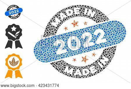 Collage Made In 2022 Stamp Icon Organized From Trembly Pieces In Random Sizes, Positions And Proport