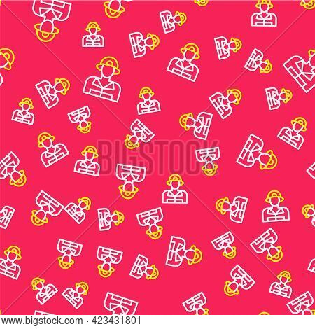 Line Firefighter Icon Isolated Seamless Pattern On Red Background. Vector