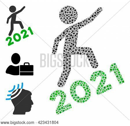 Mosaic Man Climbing 2021 Icon Designed From Tuberous Pieces In Variable Sizes, Positions And Proport