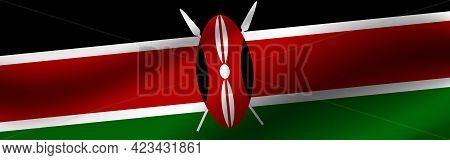 Banner With The Flag Of Kenya Fabric Texture Of The Flag Of Kenya.