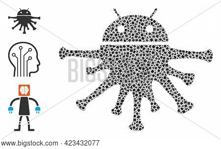 Collage Nanobot Icon Organized From Tuberous Parts In Different Sizes, Positions And Proportions. Ve