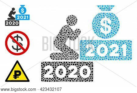 Mosaic Pray For Money 2021 Icon Designed From Bumpy Spots In Random Sizes, Positions And Proportions
