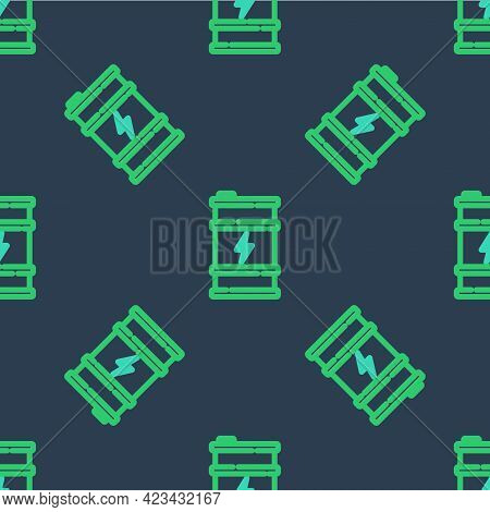 Line Bio Fuel Barrel Icon Isolated Seamless Pattern On Blue Background. Eco Bio And Canister. Green