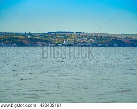 Krasnovidovo Village At Volga River Far Bank, View From The Opposite Shore, Russia