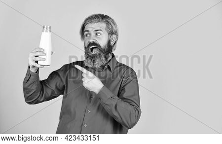 Bearded Man Drink Useful Milk. Healthy Food And Drink. Non Dairy Coconut Vegan Milk In Glass. Try Al