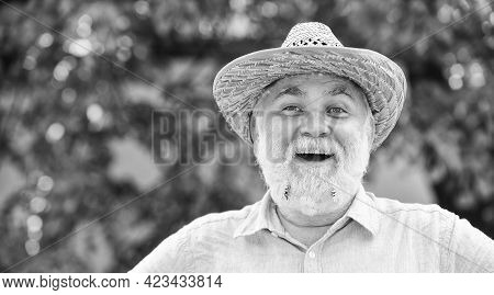 Old Man Imagining Beautiful Good Things To Realize Further. Mature Man Wear Summer Straw Hat. Happy