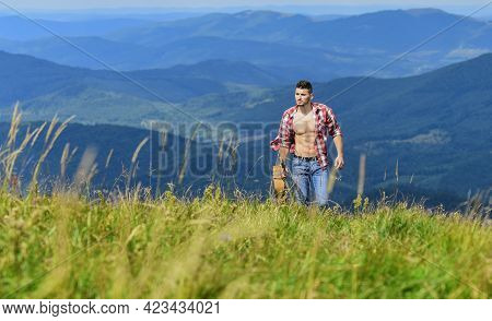 Inspiration. Sexy Man With Guitar In Checkered Shirt. Hipster Fashion. Western Camping And Hiking. H